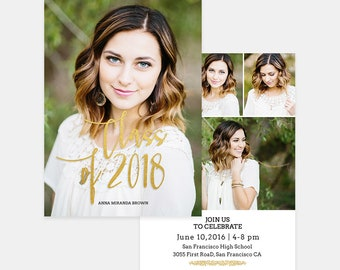 Senior Graduation Announcement Template for Photographers PSD Flat card - Graduation Template - Photography Template  G001