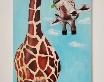 Free Shipping! Oil Painting,Giraffe Oil Painting Art,33/46CM, 13/18.1Inches.Not include outer frame