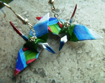 Wrapping Paper Origami Crane Earrings –FREE SHIPPING– red, green & blue recycled-upcycled-reclaimed-renewed-repurposed #e719 marlisa