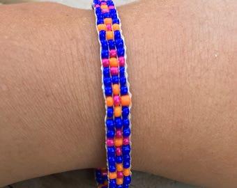 Flor Azul Beadwoven Bracelet