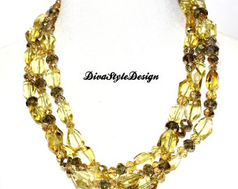 Gold Crystal Multi Strand Necklace, Gold Crystal Statement Necklace, Gold Crystal Necklace, Statement Necklace
