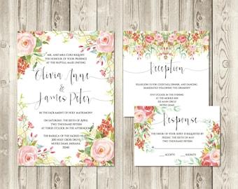 Spring Blossom Wedding Invitation Set