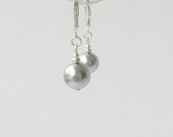 Light Gray Pearl Earrings, Grey Pearl Drop Earrings, Bridesmaid Jewelry, Simple Pearl Earrings, Wedding Party Gift, Modern Jewelry, Sterling