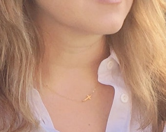 Gold sideways cross necklace • Tiny cross necklace • Layering necklace • Gold-filled or sterling silver • Cross necklace for Christians
