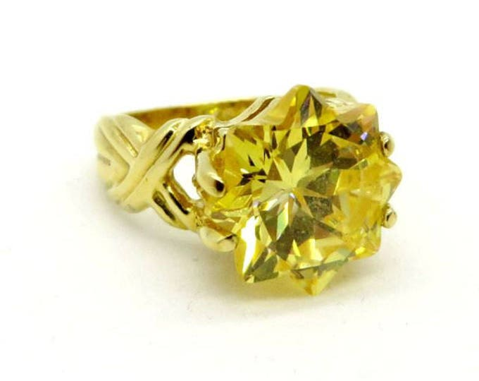 Citrine CZ Solitaire Ring - Vintage Sterling Silver, Gold Plated Statement Ring, Size 5