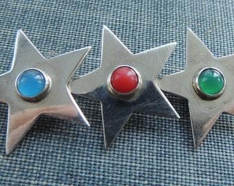 Vintage Sterling Silver Star Brooch / Mid Century Brooch / Three Star Pin / Star Bar Pin / Sterling Silver Brooch