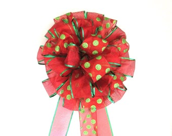 Christmas Bow / Tree Topper Bow / Wreath Bow / Red Bow / Tree Topper