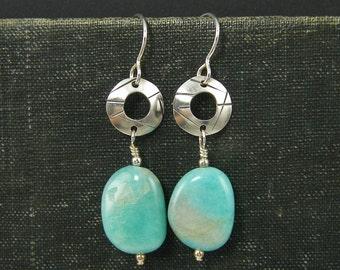 Amazonite Earrings Aqua Gemstone Earrings Sterling Silver Circle Earrings Gemstone Drop Earrings Aqua Silver Metalwork Earrings |EC1-27