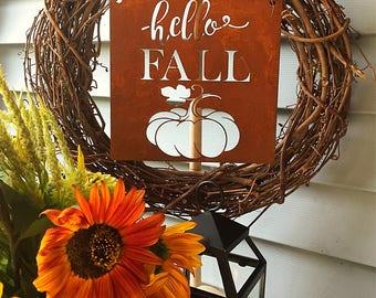 Hello Fall metal sign, Autumn and Fall Farmhouse, Rustic Decor