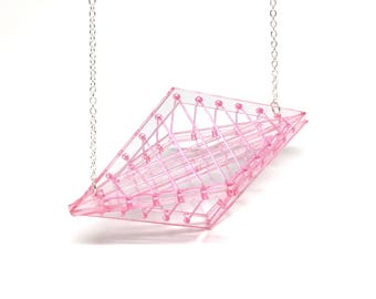 Large Pink Kaleidoscopic Necklace - Bold Statement Laser Cut Hand Dyed Acrylic Perspex Geometric Elastic Thread Necklace on Silver Chain