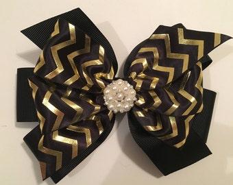 Christmas Hair Bow Black and Gold Chevron Bow Black and Gold Hair Bow with Pearl Center New Year's Hair Bow Festive Gold Hair Bow