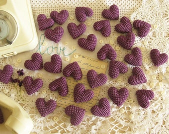 30 Purple Wedding Favors, Bachelorette Favors, Crochet Wedding Hearts, Party Favors,  Purple Table Decor, Heart Favors,