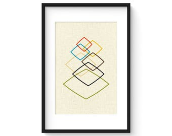 LIGHTLY - Giclee Print - Mid Century Modern Danish Modern Minimalist Cubist Modernist Eames Abstract