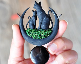 Mother and Baby Black Cats Pendant, Black Crescent Moon Necklace, Circle Black Onyx, Polymer Clay Jewelry, Mothers Day Gifts