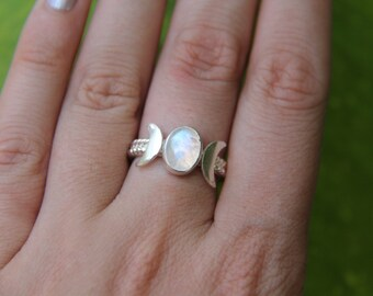 Venus Ring, Moonstone Ring, Sterling Silver Ring, Boho Ring, Gypsy Ring, Stone Ring, Statement Ring, Sunsara Jewellery