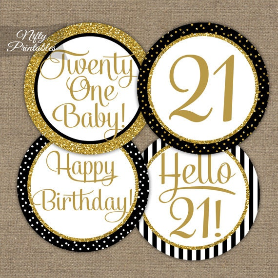 21st Birthday Cupcake Toppers 21st Birthday Party