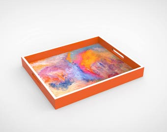 """Lacquer Tray by Bruce Mishell Titled """"The Other side"""""""