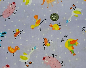 Funky Animals and Bugs - Fabric By The Yard - H