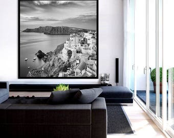 Oversized Framed Wall Art Black and White, Santorini Art, Greek Islands, Santorini Print, Santorini Gift - Sunrise, Oia, Santorini, Greece