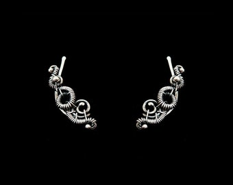 Wire Wrapped Ear Climber - Gothic Pin Earrings - 925 Sterling Silver - Plain Silver Collection
