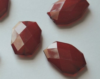 Wine Red, Faceted Acrylic Beads, Chunky Beads, 34x24mm, Translucent Acrylic Flat Polygon, Nugget Beads, 10 Pieces, Fast Shipping from USA