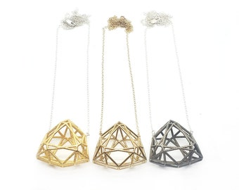 Faceted Trillion Necklace // 3D Printed Geometric Contemporary Jewelry // LanaBetty // Brass Steel Gold
