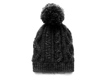 Pom Pom Beanie, Slouchy Beanie, Warm Winter Hat, Knit Hat, Pom Pom Hat, Womens Hat, Slouchy Knit Hat, Knit Beanie, Hand Knit Hat, Chunky Hat