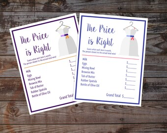 Bridal Shower Price is Right Digital Download