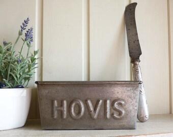 Antique Hovis bread tin with bread knife 1900s vintage baking kitchenalia Farmhouse kitchen.