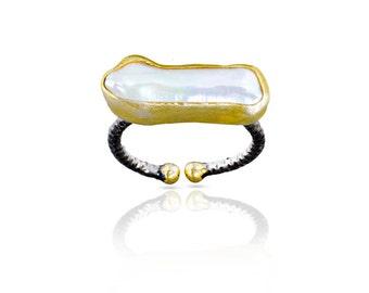 Bague perle baroque, bague en perle irrégulière, préparé avec de l'argent sterling revêtu de 18 carats, bague en argent noir, bague de forme libre perle rectangle,