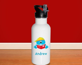 Monster Kids Water Bottle - Monster School with Name, Child Personalized Stainless Steel Bottle BPA Free Back to School