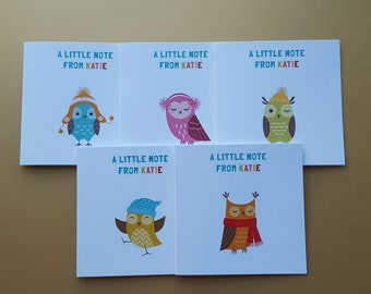 Personalised Owls Notecards x 10