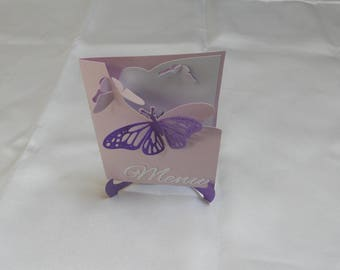 Petite butterflies on easel with butterflies (model Ayla) invitation card.