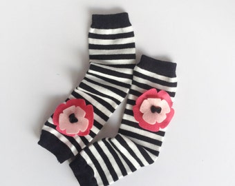 Snack Size Leg Candy Rainbow Flower Baby Leg Warmers: pink flowers on black and white striped leg warmers