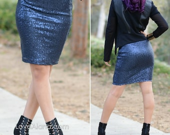 Navy Pencil Sequin Skirt- 21 inches - Stretchy, beautiful knee length skirt (Small, Medium, Large, XLarge)