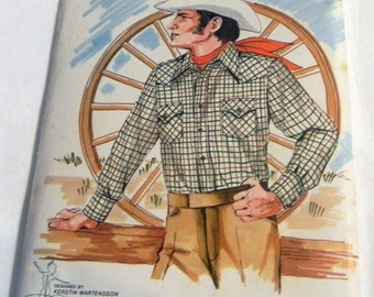 """Men's Western Shirt sewing pattern Kwik Sew 458 Chest Size 42"""" Button Front Long Sleeve 1970s Patch Pockets"""