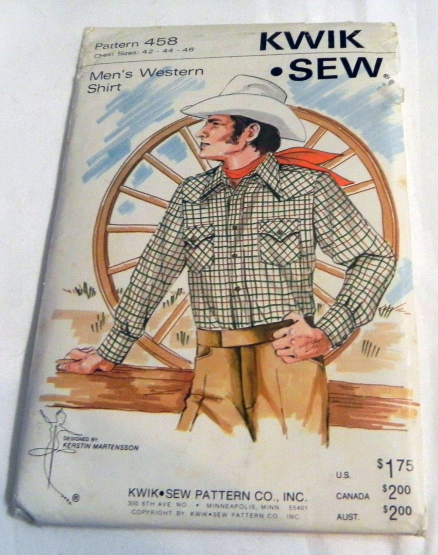 Herren Western Shirt Schnittmuster Kwik Sew 458 Brustgröße