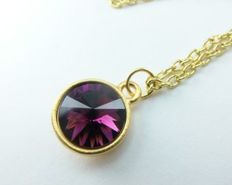 Gold Necklace Amethyst Birthstone Necklace Crystal Gold Jewelry February Birthstone