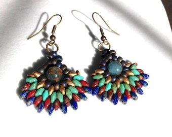 women Boho earrings handmade drop beaded earrings dangle drop boho earrings one of a kind earrings