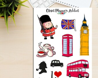 I Love London Travel Planner Stickers | London Stickers | Travel Stickers | Wanderlust Stickers | Big Ben | Union Jack Stickers (S-163)
