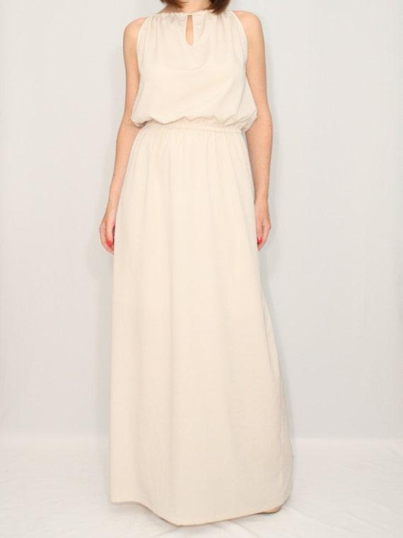 Lange Beige Kleid Brautjungfer Kleid Chiffon Maxi Kleid
