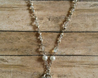 White Pearl Drop Necklace Set