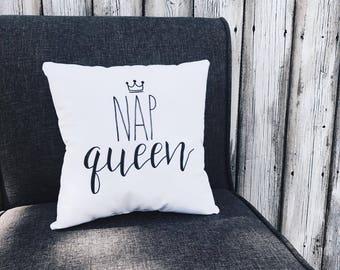Nap Queen | Decorative Throw Pillow | Calligraphy | Handmade | Home Decor | Bedding