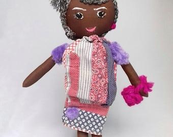 Grandmother Twenties Rag Doll, handmade, rag doll grandmother 20 's, black 40cm