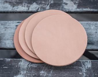 Natural Hermann Oak Leather Round Coaster Set (Plain)