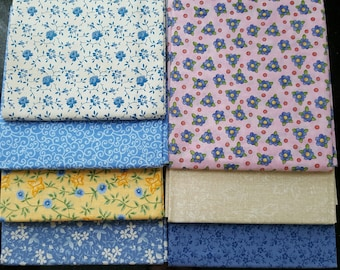 7 Fat Quarters precuts 100% cotton fabric for quilting small prints flowers