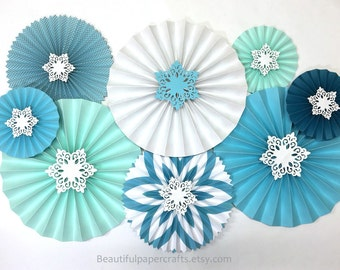 8pc Aqua Snowflake Rosettes | Winter Paper Fans | Winter Wonderland Decor | White Glitter Snowflakes | Onederland Party | Pink and Silver