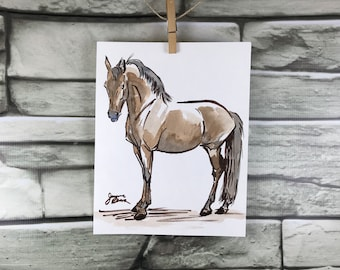 "Horse art original ink & watercolor painting - ""The Skeptic"" - brown and blue"