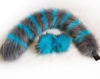 "28"" large grey & blue Tim Burton inspired cheshire cat tail with belt loops (black elastic) with matching grey and blue cat ear hair clips."