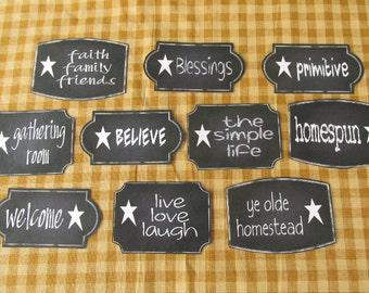 Star Words Chalkboard Style Sticky Labels